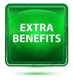 Extra Benefits Neon Light Green Square Button. Extra Benefits Isolated on Neon Light Green Square Button royalty free illustration