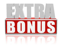 Extra bonus. 3d letters with red box Royalty Free Stock Images