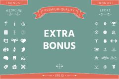 Extra bonus - button. Element for your design . Signs and symbols - graphic elements for your design royalty free illustration