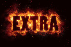 Extra bonus fire flame flames text burn glow hot. Label Stock Images