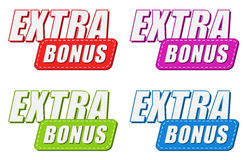 Extra bonus in four colors labels, flat design Royalty Free Stock Photography