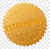 Gold EXTRA BONUS Medal Stamp. EXTRA BONUS gold stamp seal. Vector golden award of EXTRA BONUS text. Text labels are placed between parallel lines and on circle vector illustration