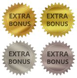 Extra bonus guarantee label. Extra bonus 3d rendered 4 color tag , golden guarantee label Royalty Free Illustration