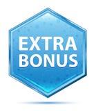 Extra Bonus crystal blue hexagon button vector illustration