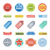Extra bonus labels vector set. Super and extra bonus banners text in color drawn labels, business shopping concept vector. Internet promotion shopping extra vector illustration