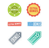 Extra bonus labels vector set. Super and extra bonus banners text in color drawn labels, business shopping concept vector. Internet promotion shopping extra stock illustration