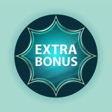 Extra Bonus magical glassy sunburst blue button sky blue background vector illustration