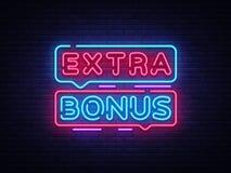 Extra Bonus neon sign vector. Bonus neon text Design template neon sign, light banner, neon signboard, nightly bright. Advertising, light inscription. Vector stock illustration