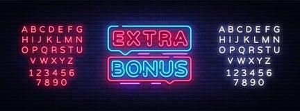 Extra Bonus neon sign vector. Bonus neon text Design template neon sign, light banner, signboard, nightly bright. Advertising, light inscription. Vector royalty free illustration
