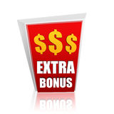 Extra bonus red banner with dollars signs Royalty Free Stock Image