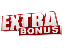 Extra bonus red white banner - letters and block Royalty Free Stock Images