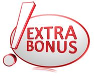 Extra bonus. Text '! extra bonus' in red 3D uppercase letters placed within a red ellipse (outline), and the exclamation mark exaggerated in size and position stock illustration