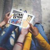 Extra boven Hoog de Krantenconcept van de Motivatieurgentie Stock Foto's