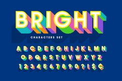 Extra bright 3d display font design, alphabet, letters and numbe Royalty Free Stock Images