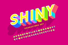 Extra bright 3d display font design, alphabet, letters and numbe Stock Images