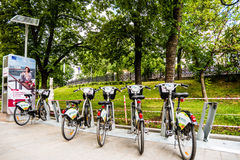 For an extra charge bike rental. Parking on the Boulevard in Moscow Stock Image