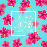 Extra clearance - background with tropical flowers. Royalty Free Stock Photography