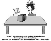 Extra Credit. Education cartoon about getting extra credit for writing a paper stock illustration