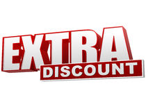 Extra discount red white banner - letters and block Stock Images