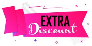 Extra Discount tag, Sale banner design template, fast offer, discount tag, promotion app icon, vector illustration. Extra Discount tag, Sale banner design royalty free illustration