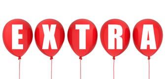 Extra etiket op rode ballons Royalty-vrije Stock Afbeeldingen