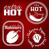 Extra etiketter för varm peppar Arkivbilder