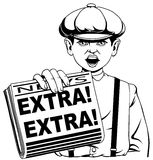 Extra! Extra!. Newspaper seller anouncing Extra! Extra Royalty Free Stock Photos