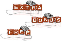 Extra free bonus sales bargain shop Stock Images