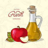 Extra fresh organic apple juice. Decanter of Apple Juice with apple vector illustration Royalty Free Stock Image