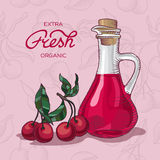 Extra fresh organic cherry juice. Decanter of Cherry Juice vector illustration Royalty Free Stock Photography