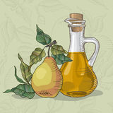 Extra fresh organic pear juice. Decanter of perry. Decanter of pear Juice with the fruit of a pear tree vector illustration Royalty Free Stock Image