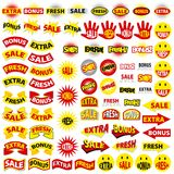 Extra, fresh, sale, bonus. Stickers with text sign: extra, fresh, sale, bonus vector illustration