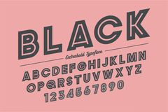 Extra Gewaagd vector decoratief gewaagd doopvontontwerp, alfabet, typefac Royalty-vrije Stock Foto