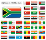 Extra glossy button flags - Africa & Middle East. Set. 36 icons. Original size of SAR flag in middle left corner stock illustration