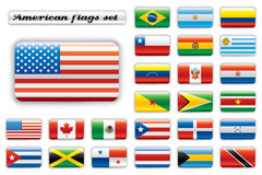 Extra glossy button flags - America. Set. 24 icons. Original size of USA flag in up left corner vector illustration