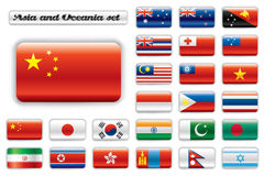 Extra glossy button flags - Asia and Oceania. Set. 24  icons. Original size of China flag in up left corner Stock Photo