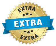 extra gold badge with blue ribbon stock illustration