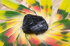 Extra Grade Black Tourmaline chunk in the middle of a circle made of colorful parrot feathers. Extra Grade Black Tourmaline chunk from Brazil in the middle of a royalty free stock photography