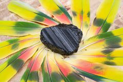 Extra Grade Black Tourmaline chunk in the middle of a circle made of colorful parrot feathers. Extra Grade Black Tourmaline chunk from Brazil in the middle of a stock photography