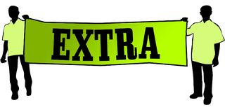 EXTRA on a green banner carried by two men. Illustration graphic Stock Photo