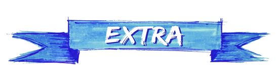Extra ribbon. Extra hand painted ribbon sign stock illustration