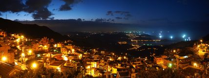 Extra High Resolution Panorama Night Image of Coas Royalty Free Stock Photography
