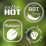 Extra hot pepper labels. Extra hot chili and habanero pepper labels. Gradient mesh royalty free illustration