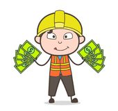 Extra Income Concept - Cute Cartoon Male Engineer Illustration Royalty Free Stock Images