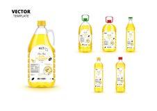 Extra jungfruliga flaskor för plast- för solrosolja på burk Royaltyfria Foton