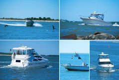 Extra large format boating montage. Large format boating montage showing variety of boat styles and sizes Stock Photos