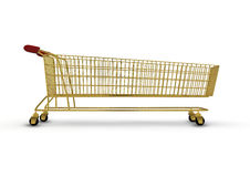 Extra large golden shopping trolley. 3D render of absurdly long shopping trolley made of gold Stock Images