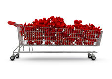 Extra large shopping trolley percentages. 3D render of extra large shopping trolley filled with percentage symbols Stock Photography