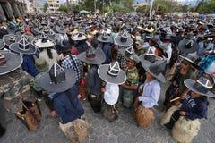 Extra large sombreros worn during Inti Raymi in Cotacachi Ecuado Royalty Free Stock Images