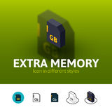 Extra memory icon in different style. Extra memory color icon, vector symbol in flat, outline and isometric style on blur background royalty free illustration